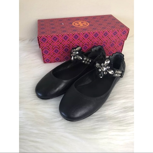 9284e957c3ad14 NEW Tory Burch Minnie Embellished Two Way Flats